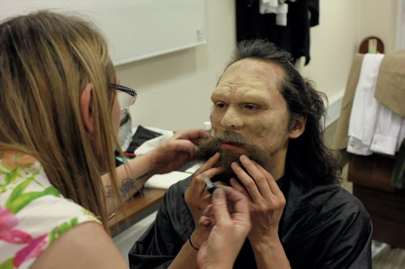 Tania Ashworth transforms Leo Ashizawa into a prehistoric man.